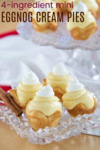 Easy Eggnog Mini Cream Pie Recipe Image with Title