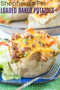 Shepherd's Pie Loaded Baked Potatoes Recipe Image with title