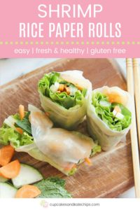 Shrimp Summer Rolls Recipe Pin Template Pink