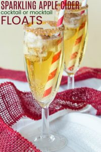 Sparkling Apple Cider Cocktail or Mocktail Ice Cream Float Recipe Image with Title