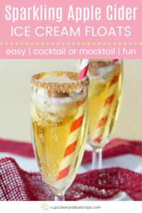 Sparkling Apple Cider Float Recipe Pin Template Pink