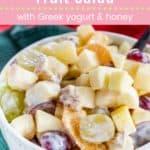 Creamy Greek Yogurt Fruit Salad Pin Template Pink