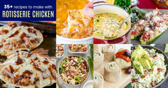 Collage of the Best Easy Leftover Rotisserie Chicken Recipes