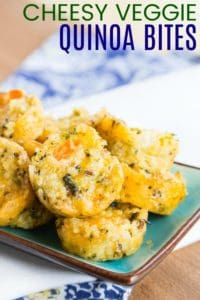 Cheesy Quinoa Veggie Bites Recipe Image with Title