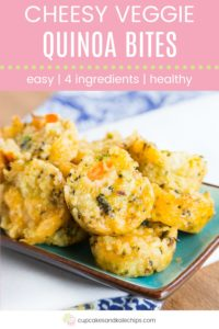 Cheesy Veggie Quinoa Bites Recipe Pin Template Pink