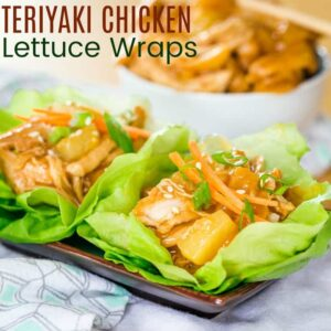 Slow Cooker or Instant Pot Teriyaki Chicken Lettuce Wraps Recipe Image with title