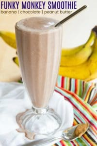 Peanut Butter Chocolate Banana Smoothie Recipe Image with title