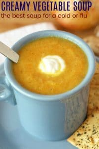 Healthy Flu Buster Vegetable Soup Recipe Image with title