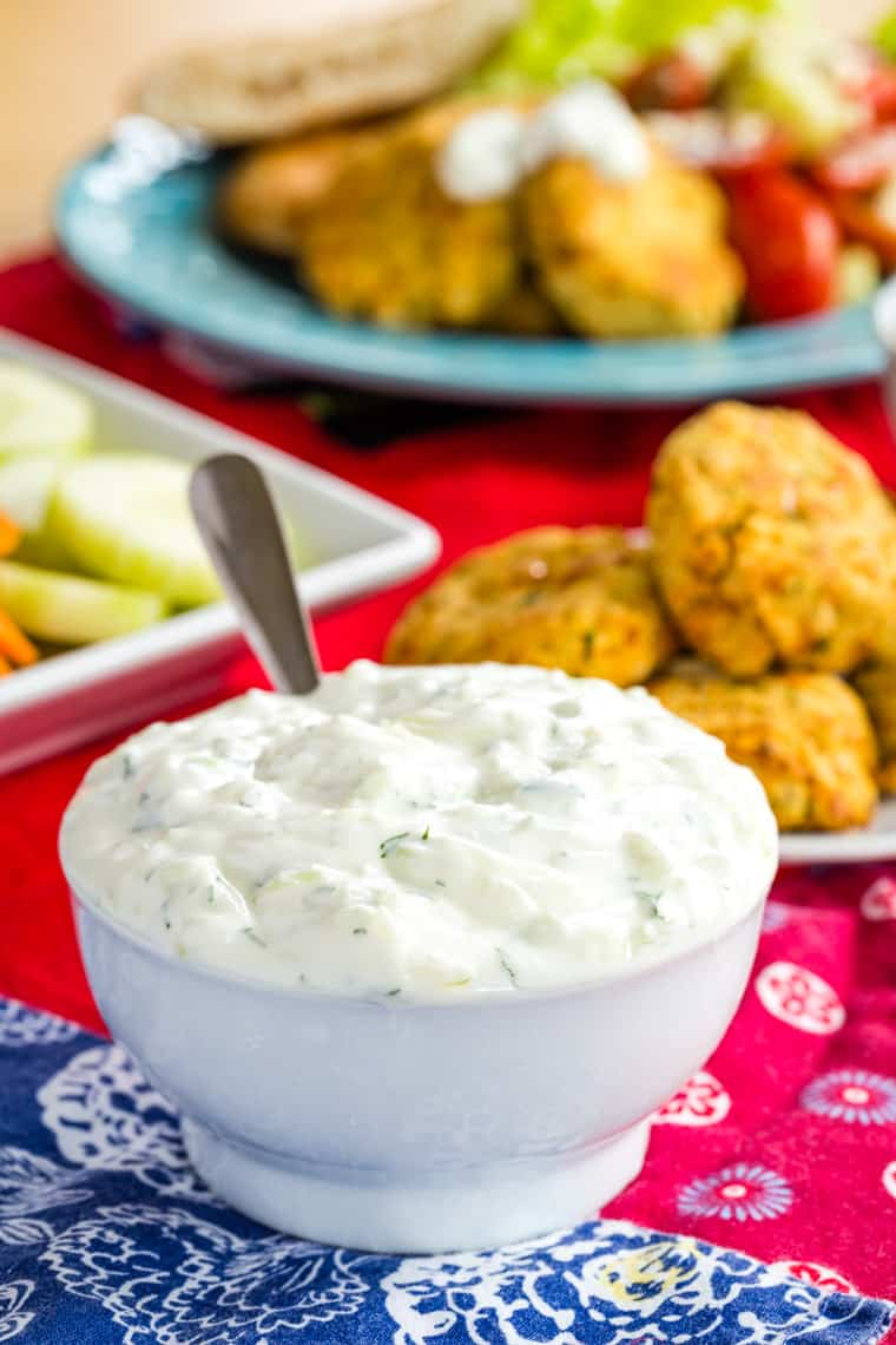 Easy Greek Tzatziki Sauce in a bowl to spoon onto Mediterranean dishes