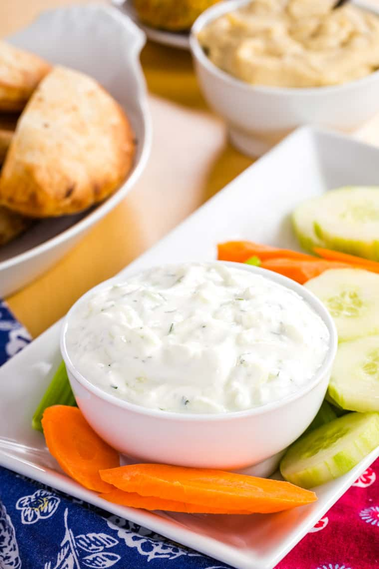 Veggies on a platter to dip into homemade tzatziki