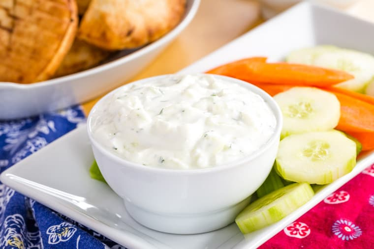 Greek Yogurt Tzatziki Dip for Veggies on a platter