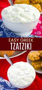 Easy Homemade Greek Tzatziki Sauce Pinterest Collage