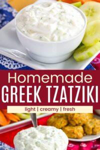 Healthy Tzatziki Greek Yogurt Dip Pinterest Collage