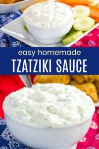 Easy Homemade Greek Tzatziki Recipe Pinterest Collage