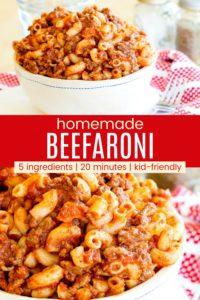 Fast Easy Beefaroni Pinterest Collage