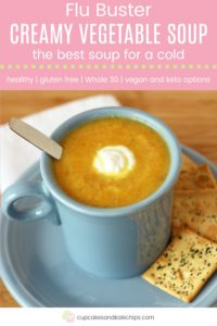 Healthy Vegetable Soup For a Cold Pin Template Pink