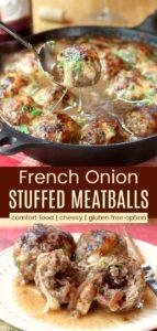 French Onion Mozzarella Stuffed Meatballs Pinterest Collage