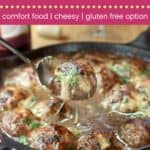 Caramelized Onion Mozzarella Stuffed Meatballs Recipe Pin Template Dark
