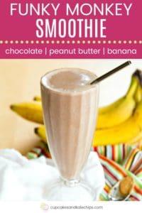 Chocolate Peanut Butter Banana Smoothie Recipe Pin Template Dark