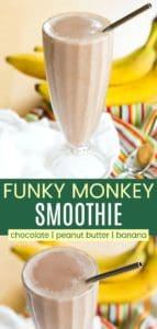 Chocolate Peanut Butter Banana Smoothie Pinterest Collage