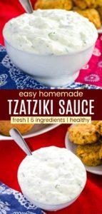 Easy Greek Tzatziki Recipe Pinterest Collage