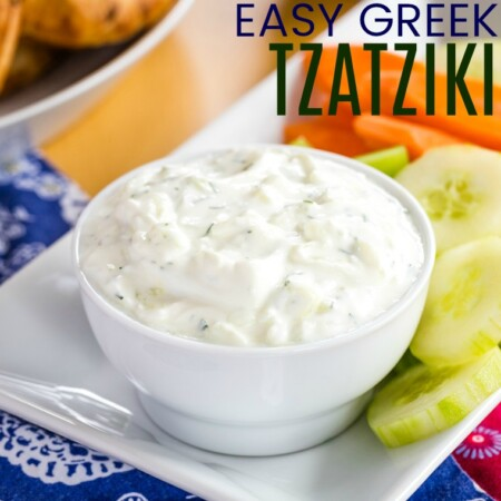 Easy Tzatziki Sauce Recipe Image with Title