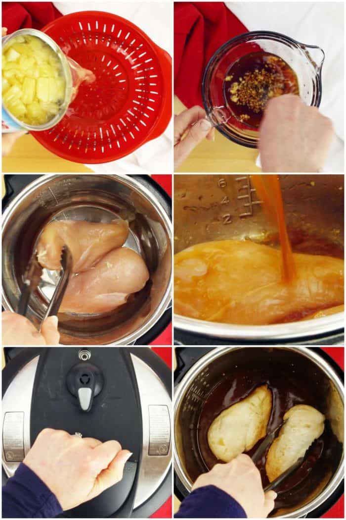 Step By Step Process Shots for How to Make Instant Pot Teriyaki Chicken