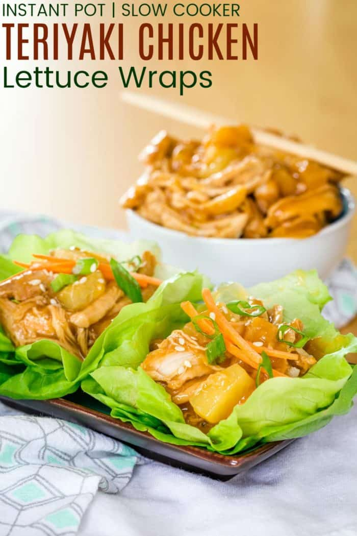 Teriyaki Chicken Lettuce Wraps Recipe Image with title