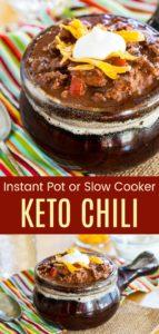 Instant Pot or Crock Pot Low Carb Chili Recipe Pinterest Collage