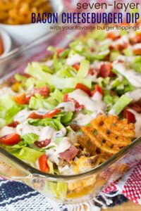 Hot Bacon Cheeseburger Dip Recipe Image with Title