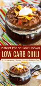 Low Carb Keto No-Bean Chili Recipe Pinterest Collage