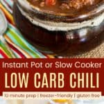 Low Carb Keto No-Bean Chili Recipe Pinterest Collage