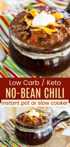 Keto Chili Recipe without Beans Pinterest Collage