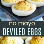 Healthy Deviled Eggs without Mayo Pinterest Collage