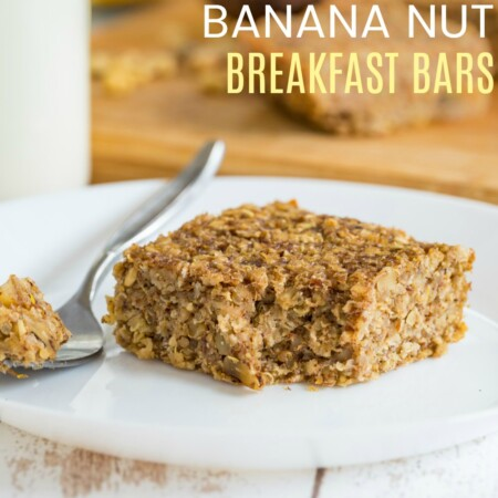 Gluten Free Banana Oatmeal Breakfast Bars Recipe Image with Title