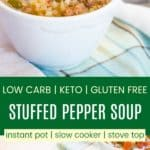 Low Carb Stuffed Pepper Soup Pinterest Collage