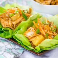 A small plate with teriyaki chicken lettuce wraps