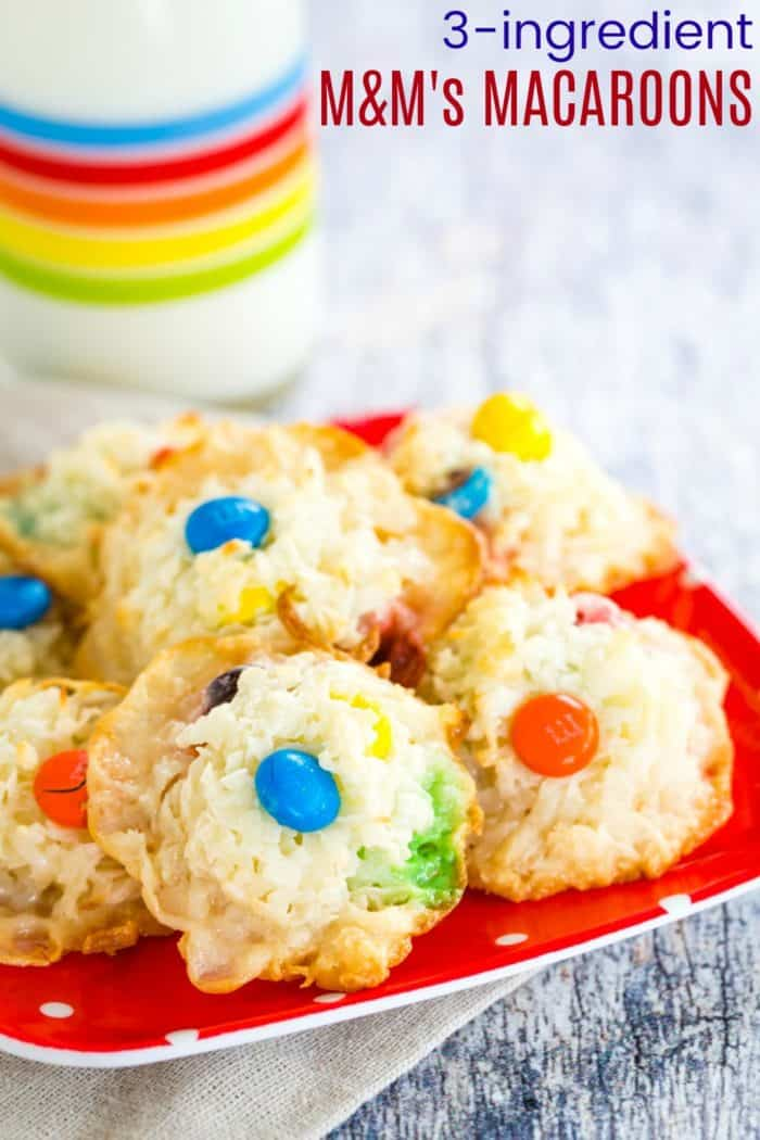 3-Ingredient M&M's Macaroons Recipe Image with Title