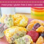 Broccoli Ham and Cheese Egg Muffin Cups Recipe Pin Template Dark