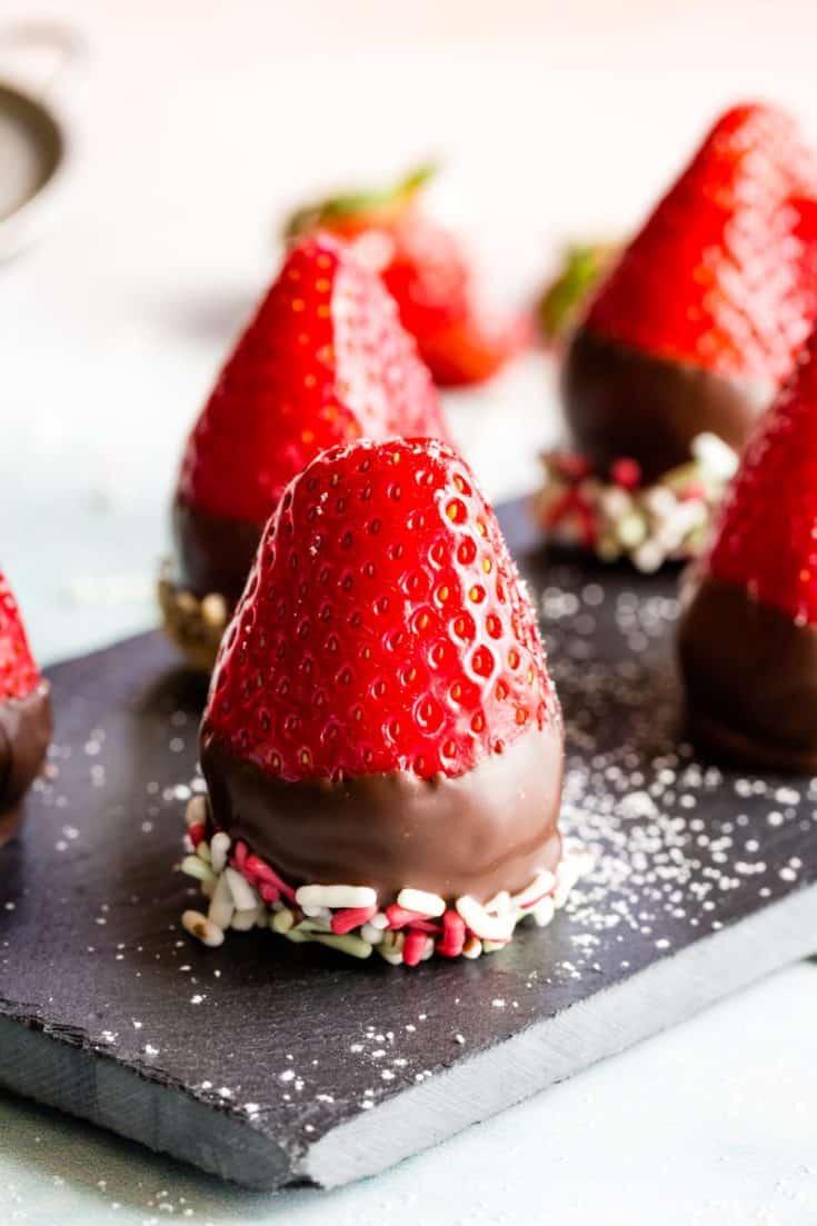Chocolate-Covered Cheesecake Stuffed Strawberries