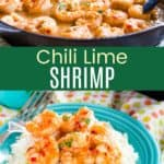 Skillet Chili Lime Shrimp Pinterest Collage