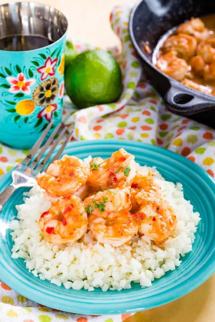 Easy Chili Lime Shrimp Served with Cauliflower Rice