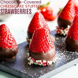 Chocolate Covered Cheesecake Strawberries Recipe Featured Image