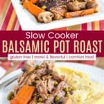 Slow Cooker Pot Roast with Mushrooms Pinterest Collage