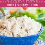 Greek Tzatziki Chicken Salad Recipe Pin Template Dark