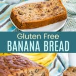 Gluten Free Banana Bread with Chocolate Chips and Walnuts Pinterest Collage