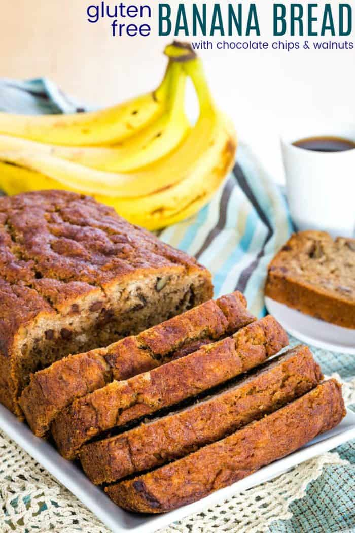 Gluten Free Banana Bread Recipe image with title