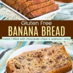 Gluten Free Chocolate Chip Banana Bread Pinterest Collage