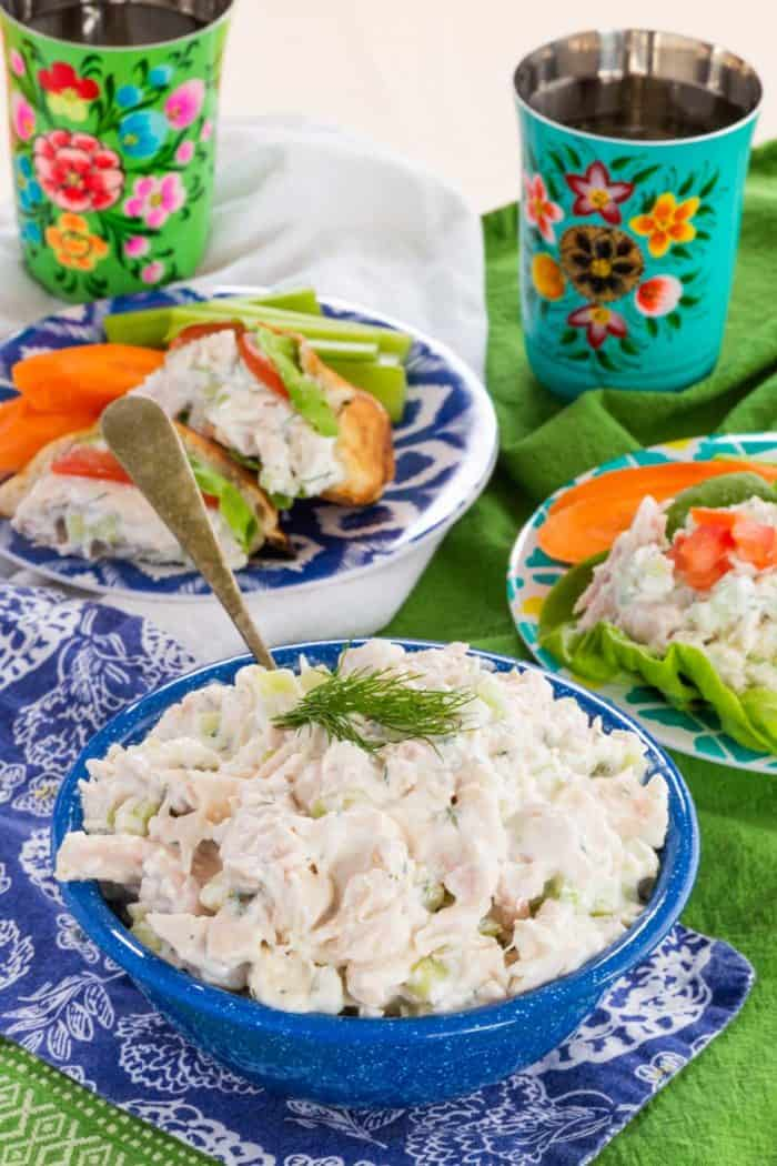 Tzatziki Chicken Salad in a bowl served in lettuce wraps and pitas