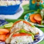 Greek Tzatziki Chicken Salad Sandwich on a Pita